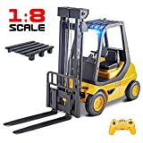 DOUBLE E Remote Control Forklift 1/8 Large Size Forklift Toys Truck with Rechargeable Battery 2.4Ghz Radio Control