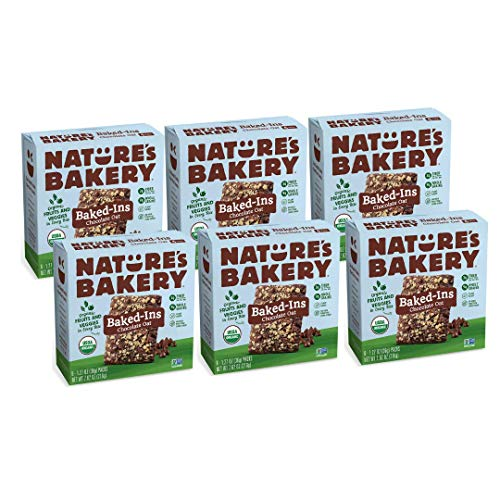 Nature's Bakery Baked-Ins Bars Chocolate Oat, Organic Fruits & Veggies, Vegan, Non-gmo, Organic Snack, 6 Boxes With 6 Packs, 36 Count