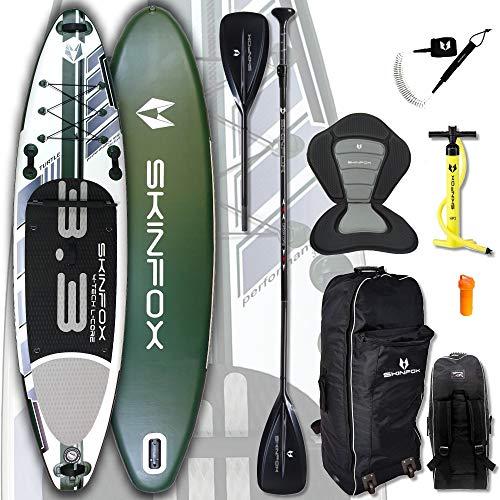 SKINFOX Turtle Carbon Set (335 x 80 x 15) 4-TECH L-Core SUP - Tabla de surf de remo (335 x 80 x 15 cm), color verde