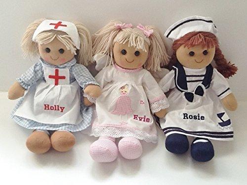 Hermosa muñeca de trapo personalizable. 40 cm. Enfermera, marinero u ángel. Gran regalo (muñeca...