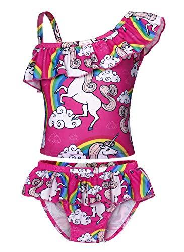 AmzBarley Traje de Baño Niña Dos Piezas Conjunto,Bañador Unicornio Niña Natacion,Siwmsuit for Girls,Nadar Piscina Bikini Tankini Verano Vacaciones Playa Hawaiian Niñas Ropa Rosa Roja 55,3-4 Años