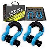 AUTOBOTS Bow Shackle 3/4' D-Ring Shackle (2 Pack), 41,887Ib Break Strength with 7/8' Pin, 2 Isolator and 4 Washers Kit for Off-Road Jeep Vehicle Recovery (Sky Blue and Black)