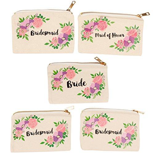 Make-up-Tasche für Brautpartys, 5 Stück, Leinen, Kosmetiktaschen für Hochzeiten, Bachelorette, Party-Geschenke, Braut-Stamm-Accessoires, Vintage-Blumen-Design, 18 x 12 cm