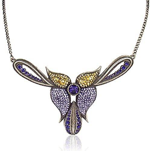 nobel-schmuck Statement-Kette Halskette Orchidee Kristall Gold Lila Violett