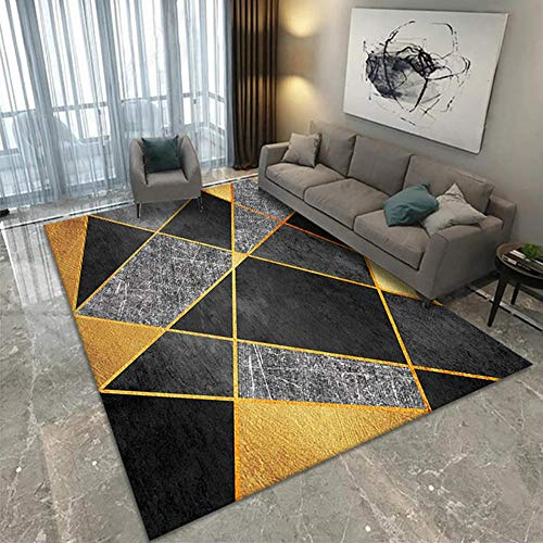 Teppich Hauptdekoration Teppich Gelber schwarzer Grauer geometrischer Muster moderner Wohnzimmer schmutzabweisender Teppich Leicht zu reinigen Modernes Design Schlafzimmer Teppich 160 * 230cm