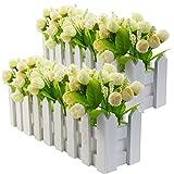 Arte fiore fiori aperti 38cm Crema Arte Pianta esterno seta fiore foglie