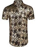 Daupanzees Mens African Dashiki Print Shirt Short Sleeve Fashion Luxury Design Street Wear Button Up Casual Shirts Gold