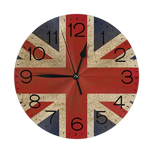 N/W British Style Wall Clock 10 Round,- Battery Operated Wall Clock Clocks for Home Decor Living Room Kitchen Bedroom Office