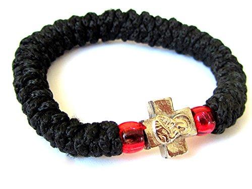 IconsGr Corde de prière chrétienne orthodoxe grecque chotki, komboskoini noire flexible 2