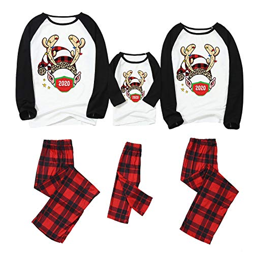 FEISI22 Matching Family Pajamas Sets Christmas PJ's with Santa Hat Tee and Festival Style Pants Loungewear