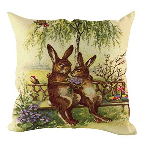 Moent Funda de almohada cuadrada de lino con huevos de Pascua, funda de cojín para sofá, funda de cojín para decoración del hogar, regalos de festival, 45,7 x 45,7 cm (A)