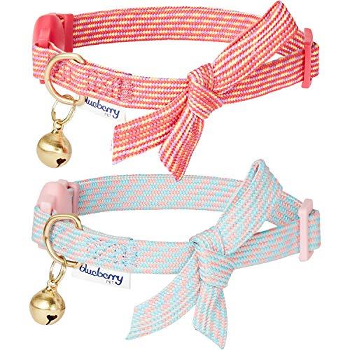 Blueberry Pet Doppelpackung von Katzenhalsbändern, Schicker Schatz Diagonal Gestreiftes Verstellbares Breakaway Katzenhalsband mit Fliege & Glöckchen, Hals 23cm-33cm