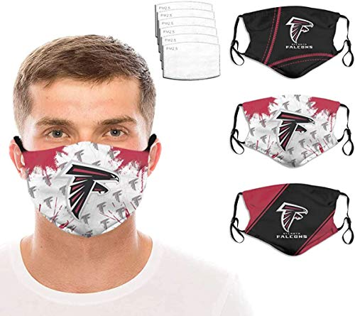 3 Packs Soft Face Mask Washable Reusable 6 Filter Football Sports With Replacement Womens Mens Made in USA Atl-anta Fal-cons