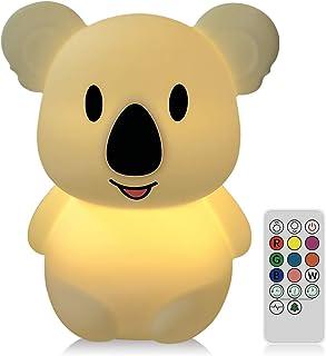 WOBEECO Lampara Noche Infantil LED, Luz Nocturna Para Bebe, Quitamiedos Infantil, 8 Colores Variables y 3 Modos de Iluminación con Mando a Distancia. Táctil ( Silicona) ( Koala)