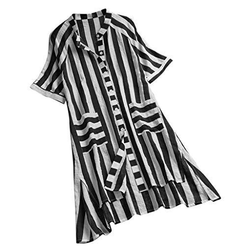Goosuny Damen Gestreifte Bluse Vintage V-Ausschnitt Kurzarm Damenblusen Button-Down Leinenbluse Longbluse Lange Sommer Oberteile Lässige T-Shirt Lose Mode Shirts Tops