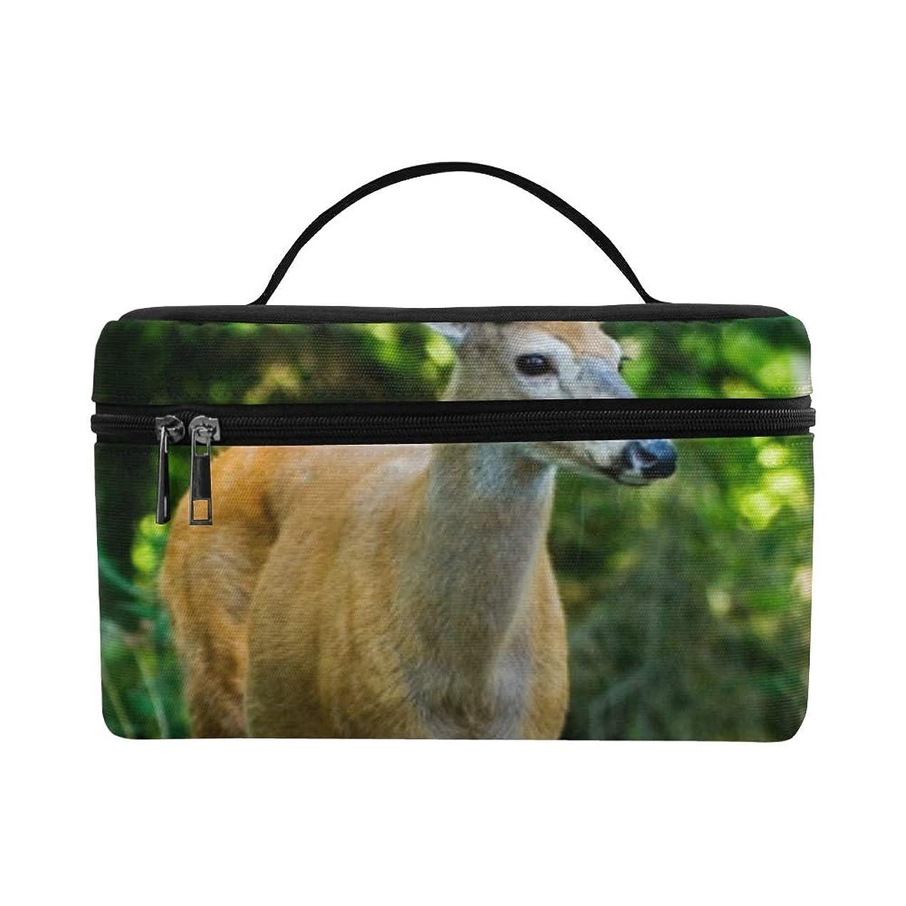 非公式契約九時四十五分GXMAN メイクボックス コスメ収納 化粧品収納ケース 大容量 収納ボックス 化粧品入れ 化粧バッグ 旅行用 メイクブラシバッグ 化粧箱 持ち運び便利 プロ用 可愛い動物 鹿