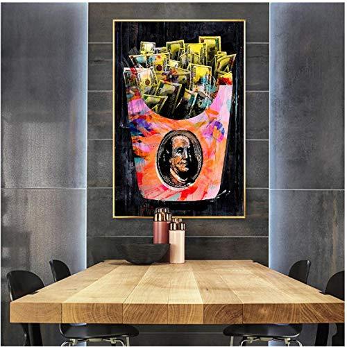 FGVB Pop Moderno Bolsa de Dinero Elegante Arte de la Pared Cita inspiradora Lienzo Pared Lienzo Pintura impresión-60x80 cm sin Marco