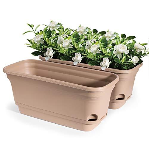 T4U 40cm プラスチック製 レクタングル 底面給水鉢 自己給水 プランター 大型 植木鉢 フラワーポット 家庭 多肉植物 観葉植物 ハーブ サボテン 野菜栽培適用 家庭菜園 ブラウン 2個セット