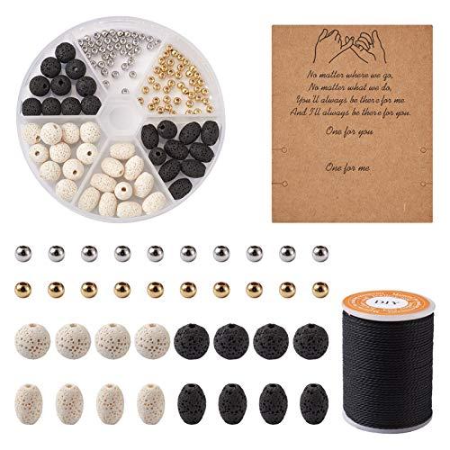 Beadthoven 40 cuentas de lava natural con 80 cuentas espaciadoras de latón Rondelle de 1 mm, cordón de poliéster encerado, tarjetas de cartón para pulseras tejidas para hacer regalos
