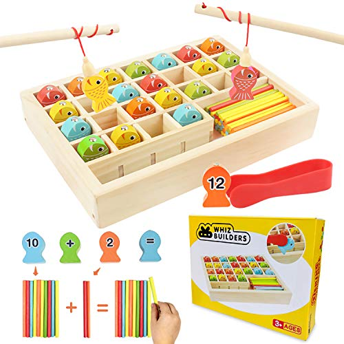 Wooden Fishing Games Math Counters Toy Toddlers & Kids - Educational Preschool Montessori STEM Learning Kindergarten Manipulatives - Fine Motor Skills Homeschool Materials Supplies All Ages & Year Old