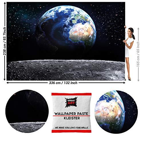 Great Art fotobehang aarde van de maan 336 x 238 cm - 8 Teile + Kleister
