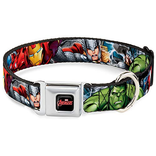 Buckle-Down Seatbelt Buckle Dog Collar - Marvel Avengers 4-Superhero Poses CLOSE-UP - 1' Wide - Fits 15-26' Neck - Large