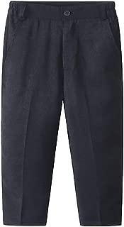 Xifamniy Infant Boys Trousers Elastic Waist Black Show Pants with Zipper Design