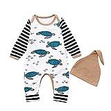 XXYsm Unisex Baby Strampler Set Overalls + Hut Outfits Junge Mädchen Winter Langarm Schildkröte gestreift Jumpsuit Weiß 70/0-6 Monate