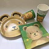 Kit de fête 37 pièces « Ours en peluche » avec assiettes, gobelets, serviettes et décorations - Pour anniversaire d'enfant ou fête à thème - Ballons ours en peluche