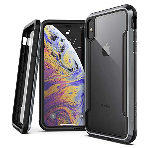 X-Doria Defense Shield, iPhone Xs Max - Military Grade Drop Tested, Anodized Aluminum, TPU, and Polycarbonate Protective Case for Apple iPhone Xs Max, 6.5 Inch Screen (Black)