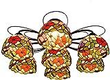 DALUXE Tiffany Lampadari Tiffany soffitto 7 Multi-Testa Tricolore Morning Glory Dipinta Lampada di Vetro della Lampada Vivente soffitto Camera da Letto
