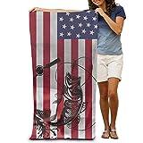 FSTGF Angeltuch mit amerikanischer Flagge, schnelltrocknend, für Schwimmbecken, Strandtuch,...