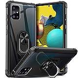 Dosnto Funda Samsung Galaxy A51 [Protección contra Caídas Reforzada] Parte Posterior Dura de PC Transparente Carcasa con 360 Grados iman Soporte Silicona Bumper Armor, Negro
