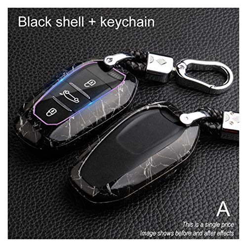 HYSJLS Auto Key Soft Case Cover Caja de Claves remotos ABS Car para Citroen C4 C5 para Peugeot 301 308 308S 408 2008 3008 4008 5008 2017 2018 2018 2019 Accesorios (Color Name : A Black)