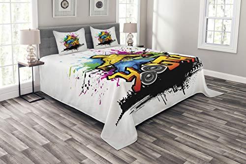 ABAKUHAUS Jugend Tagesdecke Set, Junger Mann Hip Hop Kultur, Set mit Kissenbezügen luftdurchlässig, für Doppelbetten 220 x 220 cm, Multicolor