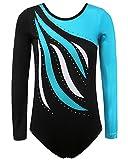 BAOHULU Gymnastics Leotard for Girls Shiny Practice Dancewear B183_Blue_8A