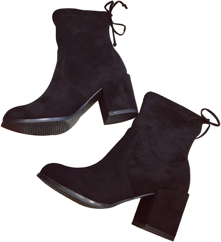HBDLH Damenschuhe Slim - Stiefel Heel 7 cm Runden Kopf Kurzer Stiefeln Dicken Abstzen Martin Stiefel