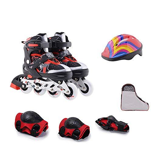 MY1MEY Single Wheel Sneaker Schuhe Verstellbare Inline-Skates, Rolling Light Up Wheels Rollerblades mit Tasche und Sicherheitsausrüstung für Mädchen, Jungen, Kinder und Erwachsene, rotes Set,