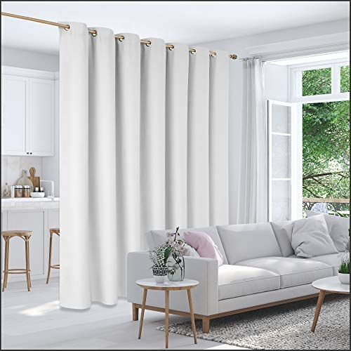 Deconovo Room Divider Curtain Thermal Insulated Blackout Patio Door Curtain Panel Wide Blackout Curtain for Sliding Glass Door, 8.3ft Wide x 8ft Tall, 1 Panel, Greyish White
