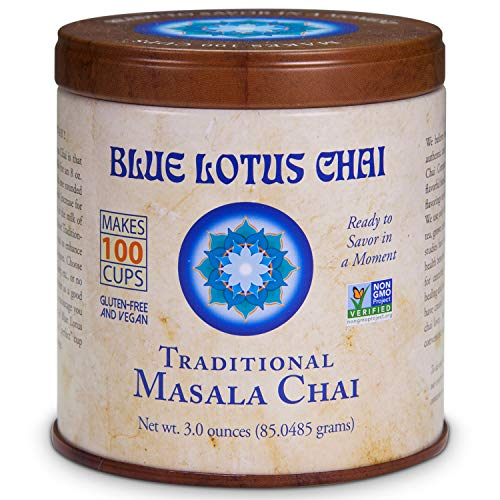 Blue Lotus Chai - Traditional Masala Chai - Makes 100 Cups - 3 Ounce Masala Spiced Chai Powder with Organic Spices - Instant Indian Tea No Steeping - No Gluten