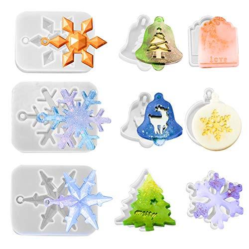 Keyzone 9 moldes de resina epoxi, decoración navideña de resina 3D, forma de copo de nieve, árbol de Navidad, alce, campana, día para fabricación de joyas, soporte de Navidad, decoración del hogar