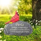 8,5 (L) x 2,5 (L) x 4,5 (A) pietra commemorativa per animali domestici personalizzata, marcatore personalizzato per tombe di cani, lapidi di gatti con cardinali, ornamenti per esterni e da giardino