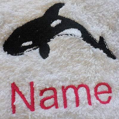 Peignoir de bain à capuche pour bébé Blanc ou blanc serviette à capuche avec un logo Orca et le nom de votre choix., Blanc, Baby Robe 0-9 months
