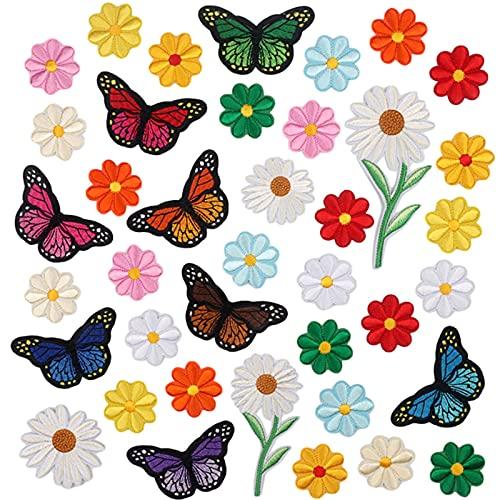 VEGCOO 39 Pezzi Toppe Termoadesive, Toppa Ricamata Termoadesiva Farfalla Fiore Toppe per Vestiti di Cucito - Toppe Termoadesive Bambini Adulti per Giubbotti, Jeans, Giacche, Maglietta