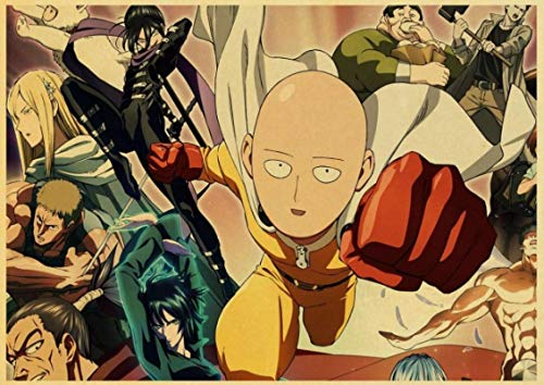 Lienzo Arte de Pared Anime japonés One Punch Man Poster Retro Poster Wall Stickers Vintage Poster Prints para Bar y decoración del hogar 60x90cm