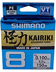 SHIMANO Kairiki 8, 150 Meter, Gris Claro, Línea de Pesca Trenzada, 59WPLA58R1