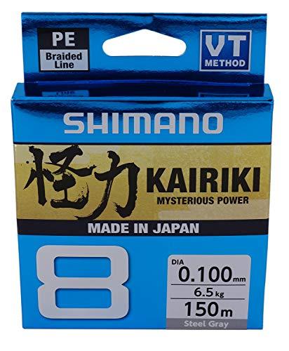 SHIMANO Kairiki 8, 150 Meter, Hellgrau, 0.100mm/6.5kg, 8fach Geflochtene Angelschnur, 59WPLA58R11