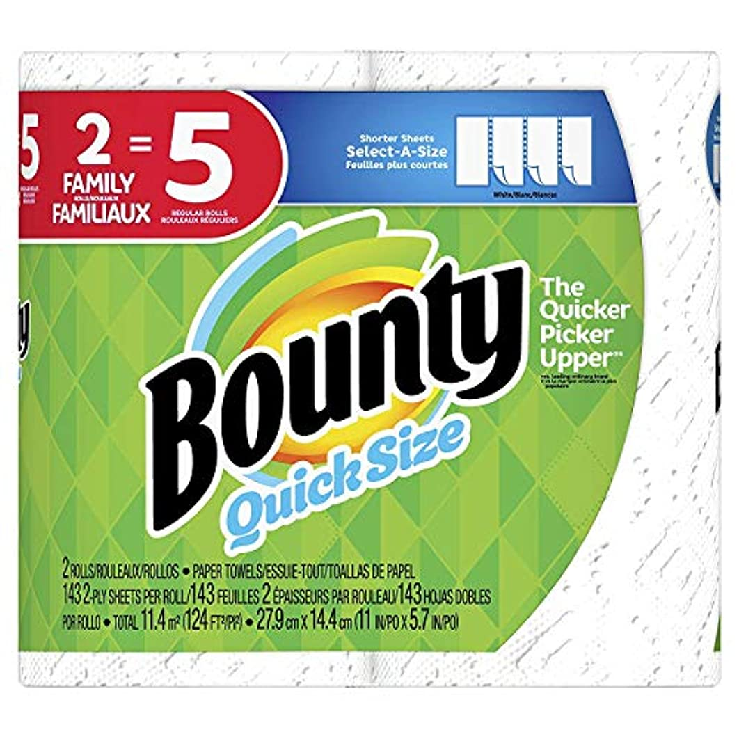Bounty Quick-Size Paper Towels, 2 Family Rolls, White, Prime Pantry