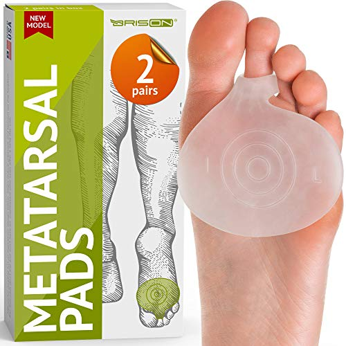 Brison Health Metatarsal Pads of Foot Cushions - Soft Gel Ball of Foot Pads Inserts Callus Metatarsal Foot Pain Relief Bunion Forefoot Cushioning Relief Foot Men and Women 2 Pairs