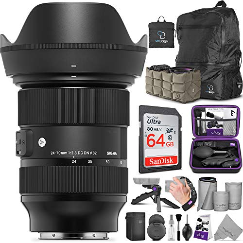 Sigma 24-70mm f/2.8 DG DN Art Lens for Sony E Mount with Altura Photo Advanced Photo and Travel Bundle